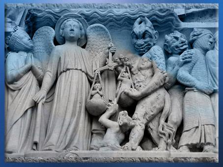 D'après la La Pesée des âmes, Jugement Dernier, Notre Dame de Paris, 1163 apjc-début XIVe siècle, art gothique. (Marsailly/Blogostelle)