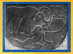 D'après le roi-taureau, détail, palette de Narmer, schiste, vers 3400 – 3200 avjc, dynastie Thinite, Hiérakonpolis, Égypte Ancienne. (Marsailly/Blogostelle)