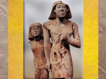 D'après un groupe statuaire, couple anonyme, acacia, vers 2980 – 2475 avjc, Ancien Empire, Égypte Ancienne. (Marsailly/Blogostelle)