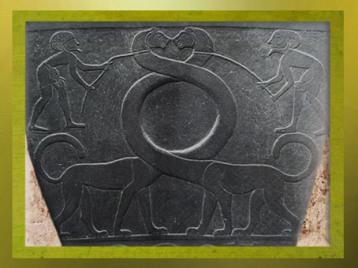 D'après le thème du maître des animaux, détail, palette de Narmer, schiste, vers 3400 – 3200 avjc, époque Thinite, Hiérakonpolis, Égypte Ancienne. (Marsailly/Blogostelle)