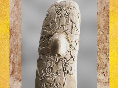 D'après le poignard de Guebel el-Arak, bosse de préhension et maître des animaux, ivoire, vers 3300-3200 avjc, Guebel el-Arak, période prédynastique de Nagada, Égypte Ancienne. (Marsailly/Blogostelle)