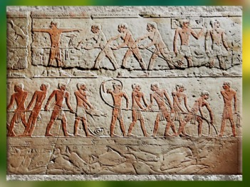 D'après la chasse aux oiseaux et la pêche, chapelles du mastaba d'Akhhétep et de son fils Ptahotep, vers 2750-2625 avjc, Ve dynastie, Ancien Empire, Saqqara, Égypte Ancienne. (Marsailly/Blogostelle)