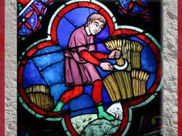 D'après les moissons, vitrail, Notre Dame de Paris, 1163 apjc-début XIVe siècle, art gothique. (Marsailly/Blogostelle)