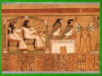 D'après les défunts et leur Ba-oiseau, papyrus d'Ani, XIXe dynastie, Nouvel Empire, Thèbes, Égypte Ancienne. (Marsailly/Blogostelle)