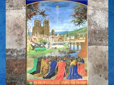 D'après Notre-Dame de Paris, La Descente du Saint Esprit, Heures d'Étienne Chevalier, enluminure, Jean Fouquet, XVe siècle. (Marsailly/Blogostelle)