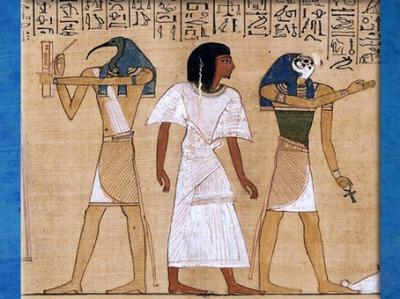 D'après Thot Ibis, détail, La Pesée du Cœur, Livre des Morts, d'Hounefer, XIXe dynastie, Thèbes, Égypte Ancienne. (Marsailly/Blogostelle)