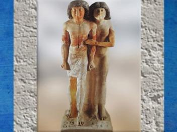 D'après un couple sculpté, Raherka et son épouse Merseankh, calcaire peint, vers 2980 – 2475 avjc, Ancien Empire, Égypte Ancienne. (Marsailly/Blogostelle)