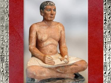 D'après le Scribe accroupi, calcaire peint, yeux en cuivre incrusté de cristal de roche, IVe ou Ve dynastie, entre 2930 et 2625 avjc, Ancien Empire,Saqqara, Égypte Ancienne. (Marsailly/Blogostelle)