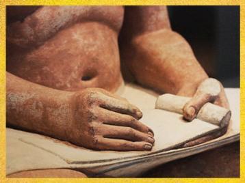 D'après le Scribe accroupi, calcaire peint, détail mains et palette, IVe ou Ve dynastie, entre 2930 et 2625 avjc, Ancien Empire, Saqqara, Égypte Ancienne. (Marsailly/Blogostelle)