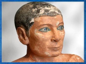 D'après le Scribe accroupi, visage, calcaire peint, IVe ou Ve dynastie, entre 2930 et 2625 avjc, Ancien Empire, Saqqara, Égypte Ancienne. (Marsailly/Blogostelle)