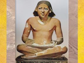 D'après un scribe anonyme, statue en calcaire peint, Saqqara,Ancien Empire, Égypte Ancienne. (Marsailly/Blogostelle)