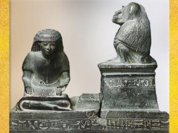 D'après Nebméroutef, scribe royal, chancelier, et grand prêtre, sous la protection de Thot Babouin, règne d'Aménophis III, Nouvel Empire, Égypte Ancienne. (Marsailly/Blogostelle)