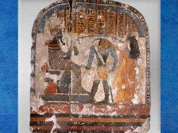D'après Thot à tête d'ibis et Osiris, stèle funéraire, bois enduit et peint, XXIIe dynastie, Deuxième période intermédiaire, entre 1788 avjc et 1580 avjc, Égypte Ancienne. (Marsailly/Blogostelle)