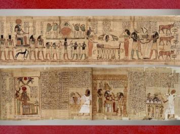 D'après le papyrus peint de Semes-Amen ou Seramon, le cycle du soleil, hommage à Rê, XXIe dynastie, Troisième Période Intermédiaire, Thèbes, Égypte Ancienne. (Marsailly/Blogostelle)