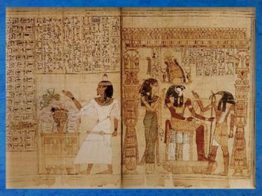D'après la table d'offrandes, Maât, Rê, Thot, papyrus de Seramon, XXIe dynastie, Troisième Période Intermédiaire, Thèbes,Égypte Ancienne. (Marsailly/Blogostelle)