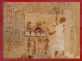D'après les offrandes à Rê et encens, papyrus de Seramon, XXIe dynastie, Troisième Période Intermédiaire, Thèbes,Égypte Ancienne. (Marsailly/Blogostelle)