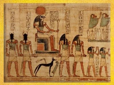 D'après Rê-Horakhty,Soleil de l'Horizon, papyrus de Seramon, XXIe dynastie, Troisième Période Intermédiaire, Thèbes, Égypte Ancienne. (Marsailly/Blogostelle)