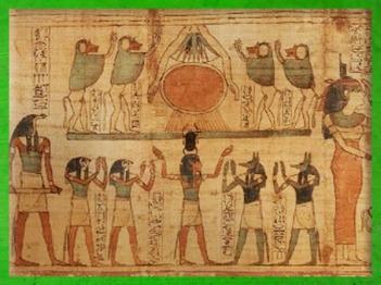D'après l'émergence du Soleil sous la forme de Khépri, Soleil Levant, papyrus de Seramon, XXIe dynastie, Troisième Période Intermédiaire, Thèbes, Égypte Ancienne. (Marsailly/Blogostelle)