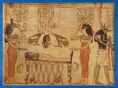 D'après la momification et la résurrection du dieu sous la forme d'Osiris Tat, symbole de Stabilité, bovidé et offrandes, papyrus de Seramon, XXIe dynastie, Troisième Période Intermédiaire, Thèbes, Égypte Ancienne. (Marsailly/Blogostelle)