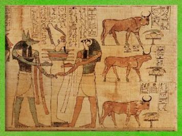 D'après la résurrection du dieu sous la forme d'Osiris Tat, symbole de Stabilité, bovidé et offrandes, papyrus de Seramon, XXIe dynastie, Troisième Période Intermédiaire, Thèbes, Égypte Ancienne. (Marsailly/Blogostelle)