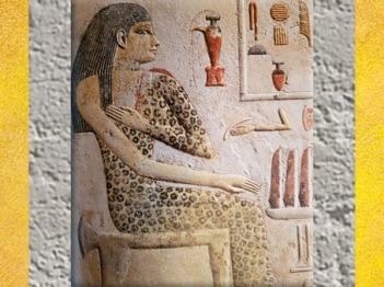D'après Nefertiabet et sa robe léopard, détail, calcaire peint, IVe dynastie, règne de Khéops, Ancien Empire, Gizeh, Saqqara, Égypte Ancienne. (Marsailly/Blogostelle)