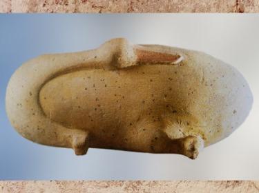 D'après une oie sculptée, calcaire peint, Ancien Empire-Première période intermédiaire, vers 2475 - 2160 avjc, Saqqara, Égypte Ancienne. (Marsailly/Blogostelle)