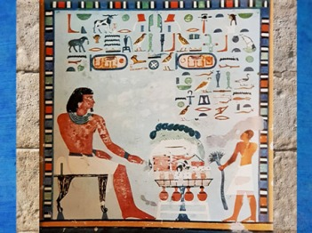 D'après le repas funéraire et les listes d'offrande du prince Sarenpout, fils de dame Satet-Hotep, XIIe dynastie, vers 2000- 1788 avjc, Moyen Empire, Assouan, Égypte Ancienne. (Marsailly/Blogostelle)