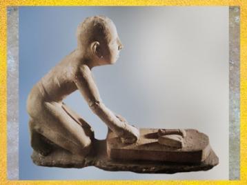 D'après un boulanger au travail, calcaire, Saqqara, Ancien Empire, Ancien Empire vers 2980 - 2475 avjc, Égypte Ancienne. (Marsailly/Blogostelle)