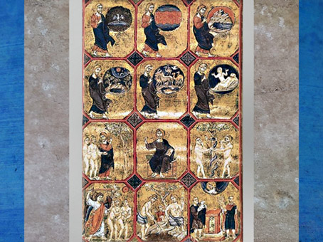 D'après la Genèse, bible réalisée en Terre sainte vers 1250-1254 apjc, à l'époque de Saint Louis, parchemin, Acre, XIIIe siècle, art médiéval. (Marsailly/Blogostelle)