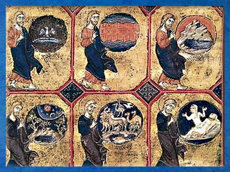 D'après la Genèse, Six jours, bible , vers 1250-1254 apjc, à l'époque de Saint Louis, parchemin, Acre, XIIIe siècle, art médiéval. (Marsailly/Blogostelle)