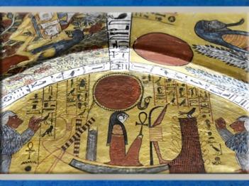 D'après le Lever du Faucon, Rê-Horakhty-Atoum, maître des Deux-Terres, Khépri,tombe de Sennedjem, Livre pour Sortir au Jour, XIXe dynastie,Égypte ancienne. (Marsailly/Blogostelle)
