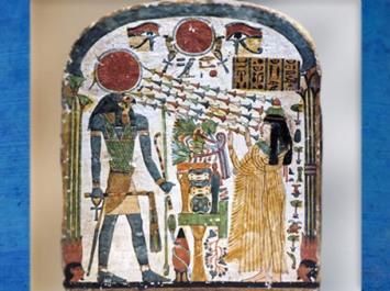 D'après Dame Tapéret, baignée par les rayons solaires de Rê, stèle en bois peint (recto), XXIIe dynastie, Troisième période intermédiaire, Égypte Ancienne. (Marsailly/Blogostelle)