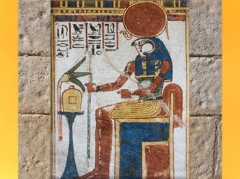 D'après Rê-Horakhty, dieu Soleil à tête de faucon, et fleur de lotus, tombe civile, début XIXème dynastie, Thèbes, Nouvel Empire, Égypte Ancienne. (Marsailly/Blogostelle)