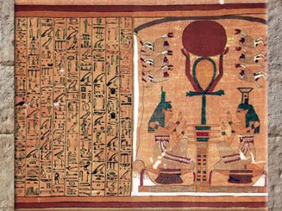 D'après le disque solaire, le pilier Djed, la croix Ankh et les déesses Isis et Nephtys, papyrus d'Ani, XIXe dynastie, Thèbes, Nouvel Empire, Égypte Ancienne. (Marsailly/Blogostelle)