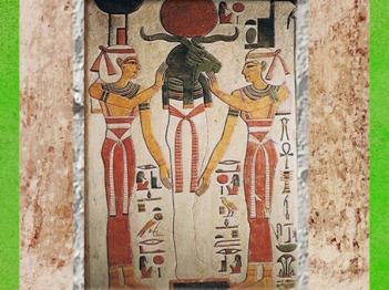 D'après Atoum-Rê momifié en Osiris, entouré de Nephtys et de la déesse Isis, tombe de Nefertari, épouse de Ramsès II, XIXe dynastie, Vallée des rois, Nouvel Empire, Égypte Ancienne. (Marsailly/Blogostelle)