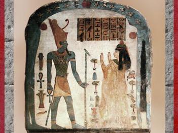 D'après le dieu Atoum, Ankh et sceptre Ouas en mains, et Dame Tapéret, stèle bois peint (verso), vers Xe-IXe siècle avjc, XXIIe dynastie, Troisième période intermédiaire, Égypte Ancienne. (Marsailly/Blogostelle)