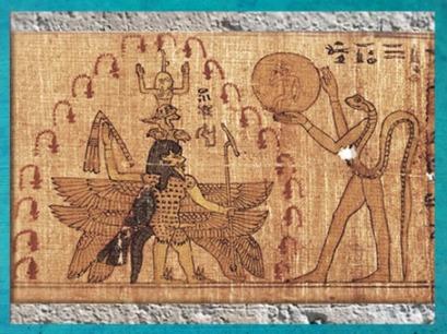 D'après une déité serpent, le jeune Soleil, et Bès, papyrus, VIIe-IVe siècle avjc, Heliopolis,Égypte Ancienne. (Marsailly/Blogostelle)