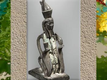 D'après le dieu Atoum-serpent, statuette de bronze, vers 663-332 avjc, Basse Époque, Égypte Ancienne. (Marsailly/Blogostelle)