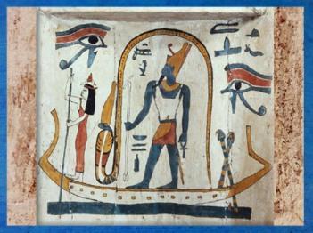 D'après Atoum-Rê, Soleil du crépuscule, sarcophage de Tachepenkhonsou, joueuse de sistre d'Amon-Rê, fin XXVe-début XXVIe dynastie, bois peint, Égypte ancienne. (Marsailly/Blogostelle)