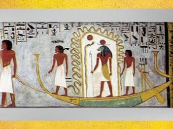 D'après Rê-Atoum dans sa barque solaire, Livre des Portes, tombe de Ramsès Ier, XIXe dynastie, Nouvel Empire, Égypte Ancienne. (Marsailly/Blogostelle)