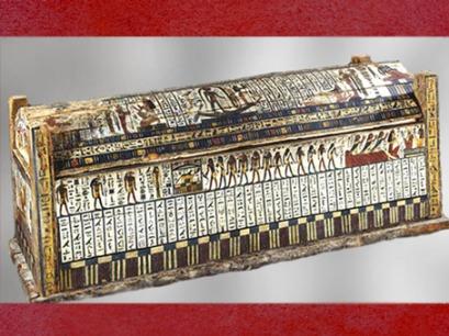 D'après sarcophage de Tachepenkhonsou, joueuse de sistre d'Amon-Rê, vers 650 avjc, fin XXVe-début XXVIe dynastie, bois peint, Égypte ancienne. (Marsailly/Blogostelle)