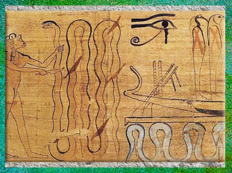 D'après Apophis transpercé, papyrus de la prêtresse Hérouben, XXIe dynastie, Troisième période intermédiaire, Égypte Ancienne. (Marsailly/Blogostelle)