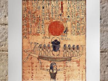 D'après la barque du Soleil émergeant sous la forme de Khépri, portée par le dieu Noun, Livre des Morts d'Anhai, XXe dynastie, Nouvel Empire, Égypte Ancienne. (Marsailly/Blogostelle)