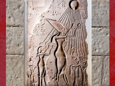 D'après les rayons d'Aton qui baignent la famille royale, règne d'Akhénaton, XVIIIe dynastie, Nouvel Empire, Égypte Ancienne. (Marsailly/Blogostelle)