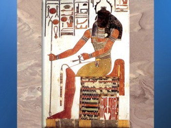 D'après Khépri à tête de Scarabée, tombe de Nefertari, épouse de Ramsès II, XIXe dynastie, Nouvel Empire, Égypte Ancienne. (Marsailly/Blogostelle)