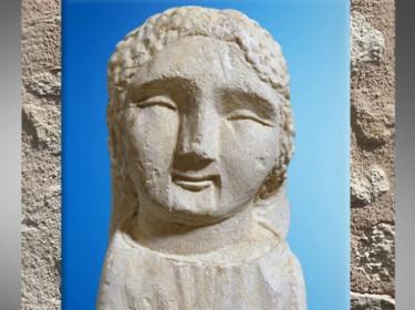 D'après un ex-voto, buste féminin, yeux fermés, calcaire, Source de la Seine, vers Ier siècle avjc- Ier siècle apjc, Gaule romaine. (Marsailly/Blogostelle)