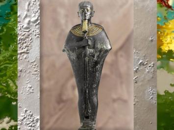 D'après Ptah enveloppé dans son habit moulant, bronze, or et électrum, vers 664 -332 avjc, XXVIe, Basse Époque, Égypte Ancienne. (Marsailly/Blogostelle)