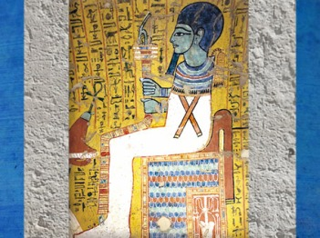 D'après le dieu Ptah, sceptre ouas et pilier djed, peinture, tombe d'Irynéfer, XIXe dynastie, sous Ramsès II, Deir el-Médineh, Nouvel Empire, Égypte Ancienne. (Marsailly/Blogostelle