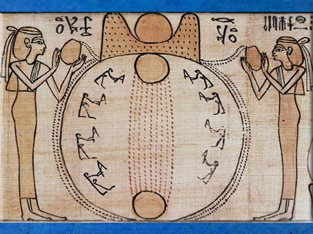 D'aprèsla Création et le Soleil posé sur l'Horizon, papyrus funéraire de Khensumose, prêtre d'Amon-Rê, Livre des Morts, XXIe dynastie, Égypte Ancienne. (Marsailly/Blogostelle)