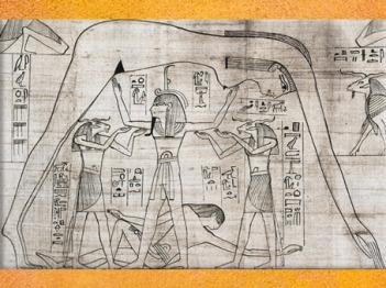 D'après Nout au-dessus de Geb portée par Shou dieu Air, papyrus Greenfield, vers 950 - 930 avjc, fin XXI-début XXIIe dynastie, Égypte Ancienne. (Marsailly/Blogostelle)